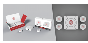 POMAlarm Security Devices and Product Packaging