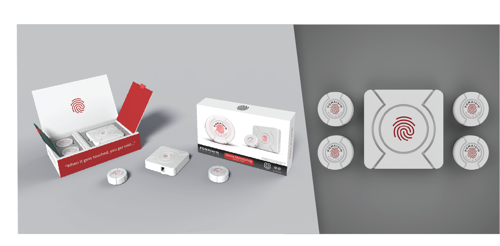 POMAlarm, Smart Security System and Product Packaging