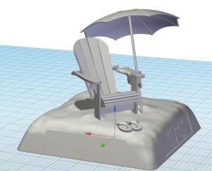 CAD Design of Wyndham Rewards Tee Marker - Beach Version