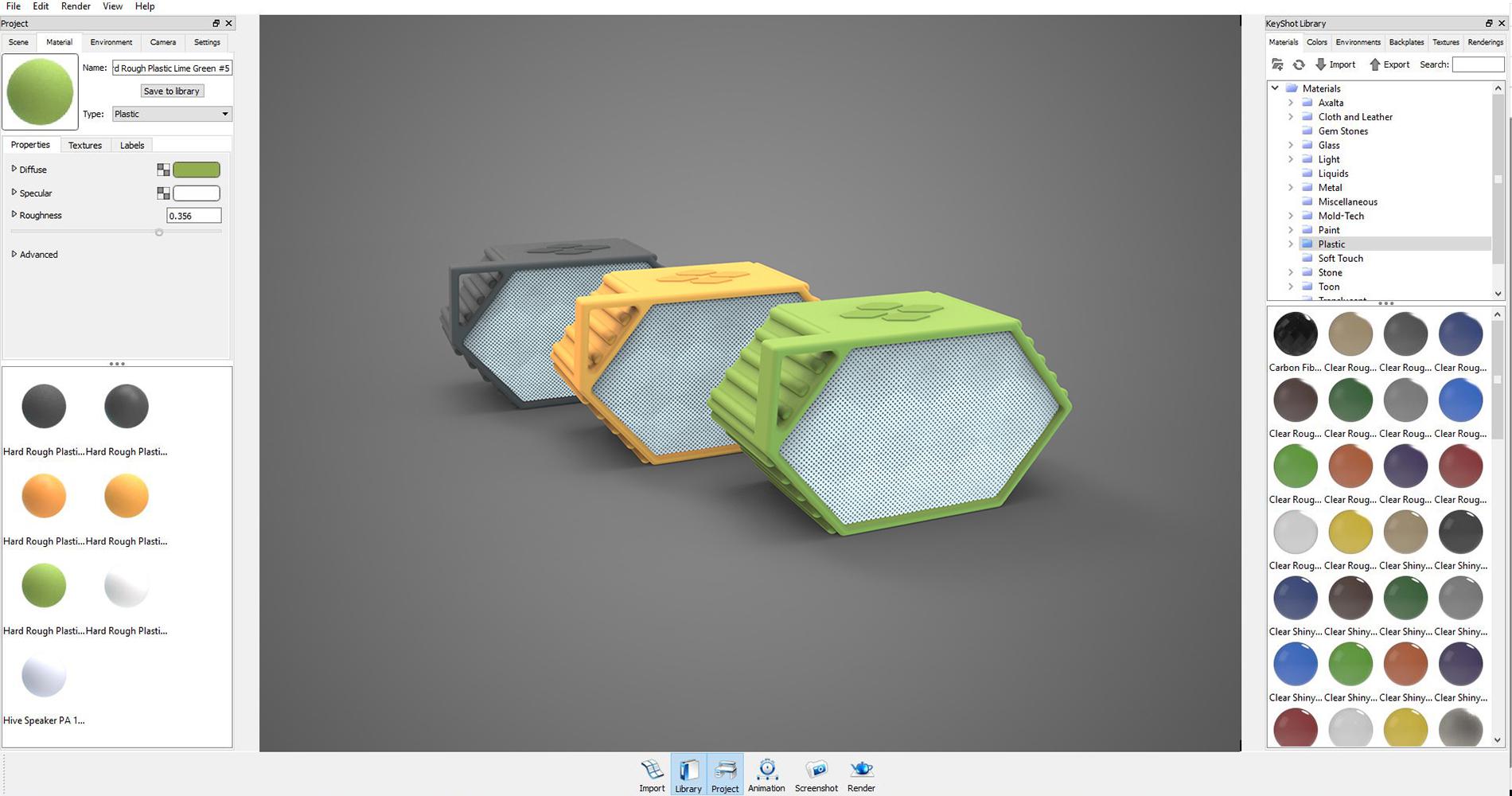 Keyshot interface for creating photo renderings.